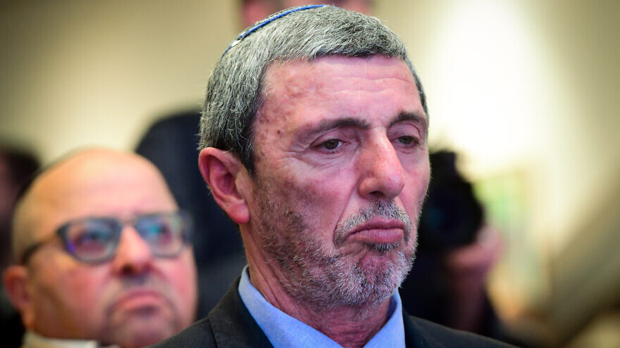 Jewish Home Party chairman Rabbi Rafi Peretz attends a conference in Ramat Gan of the Jewish Home Party to approve the party's upcoming union with Otzma Yehudit Party towards the upcoming general elections, Jan. 13, 2020. Photo by Flash90.