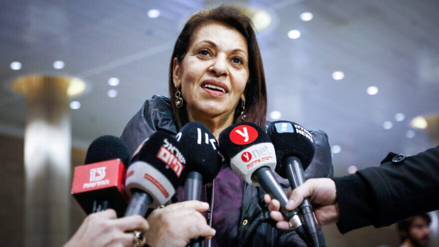 Yaffa Issachar, mother of Naama Issachar, an Israeli-American woman jailed in Russia on marijuana charges, speaks to the media at Israel's Ben-Gurion International Airport on Jan. 19, 2020. Photo by Flash90.