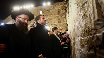 French President Emmanuel Macron visits the Western Wall in Jerusalem's Old City on Jan. 22, 2020. Photo by Shlomi Cohen/Flash90.