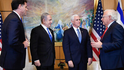 U.S. Vice President Mike Pence meets with Israeli Prime Minister Benjamin Netanyahu at the U.S. Embassy in Jerusalem, on Jan. 23, 2020. Photo by Matty Stern/U.S. Embassy Jerusalem.