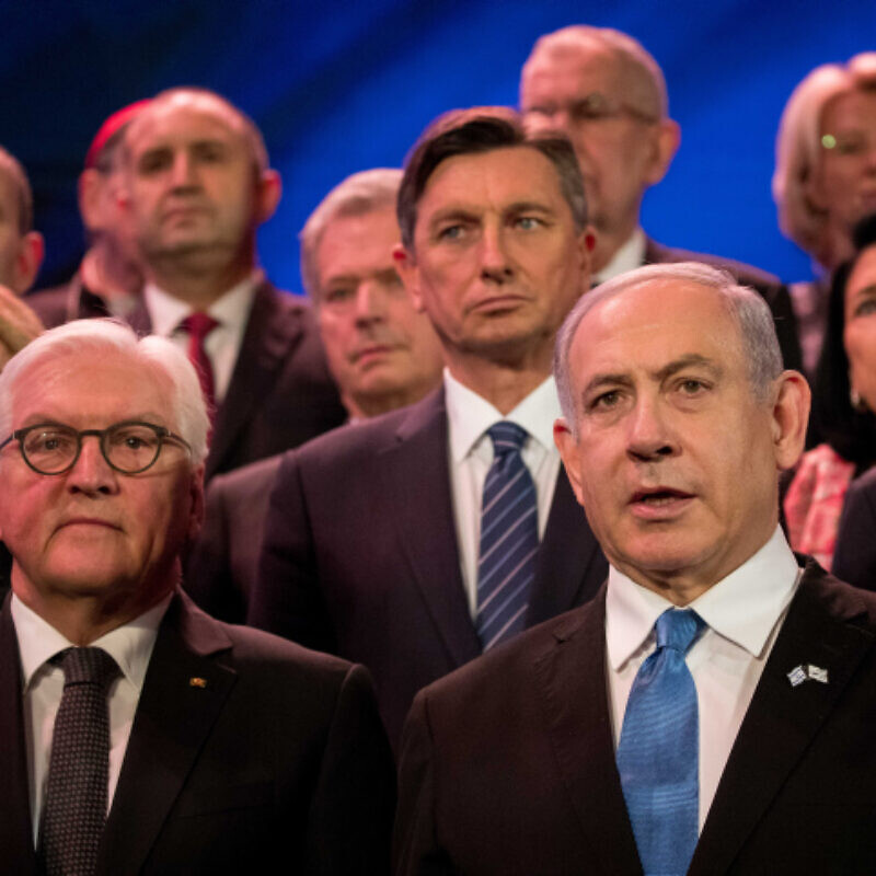 Israeli Prime Minister Benjamin Netanyahu and Israeli President Reuven Rivlin pose for a picture with world leaders during the Fifth World Holocaust Forum at the Yad Vashem Holocaust memorial museum in Jerusalem on Jan. 23, 2020. Photo by Yonatan Sindel/Flash90.