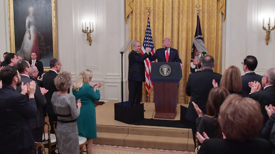 U.S. President Donald Trump and Israeli Prime Minister Benjamin Netanyahu at the White House following the unveiling of the U.S. Middle East peace plan on Jan. 28, 2020. Photo by Kobi Gideon/GPO.