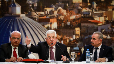 Palestinian Authority leader Mahmoud Abbas (center) delivers a speech on the new Middle East peace plan at P.A. headquarters in Ramallah, Jan. 28, 2020. Photo by Flash90.