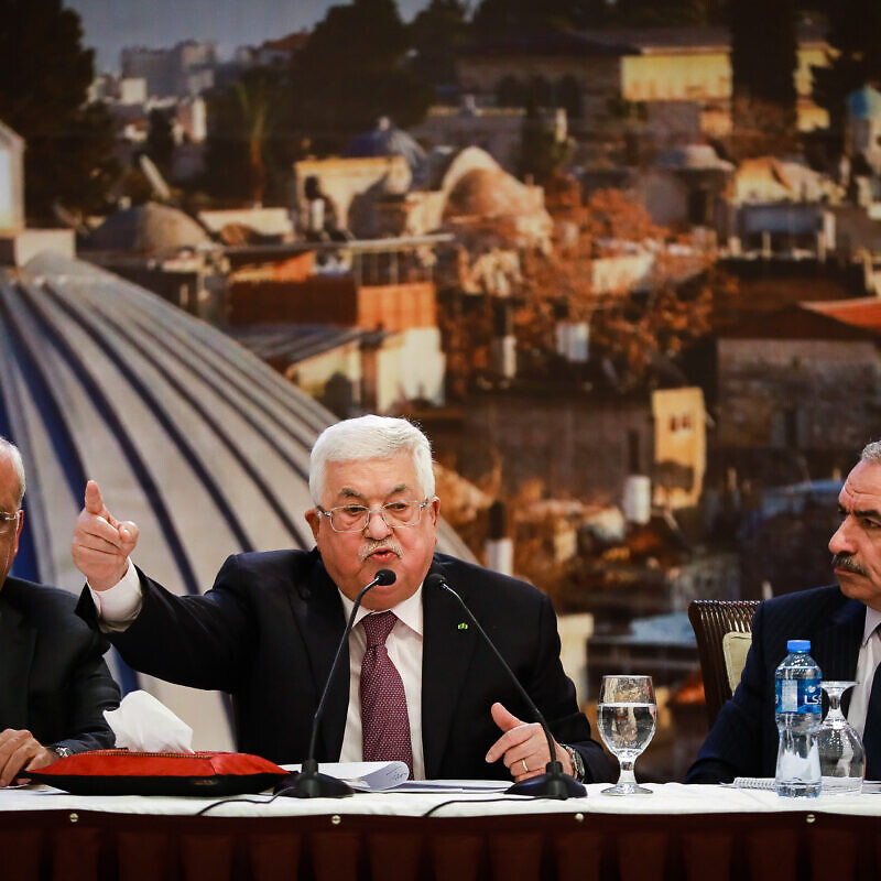 Palestinian leader Mahmoud Abbas delivers a speech regarding the Middle East peace plan, at the Palestinian Authority headquarters, in the West Bank city of Ramallah, January 28, 2020. Photo by Flash90