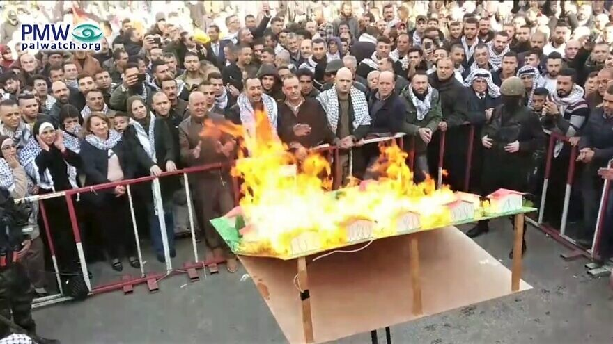 Fatah threatens the burning of Jewish towns as part of continued terrorism against Israelis and as an effort, along with the proposition of murder. to stop the Fifth World Holocaust Forum and other commemorative memorials from taking place during the week of Jan. 19, 2020. Source: Palestinian Media Watch.