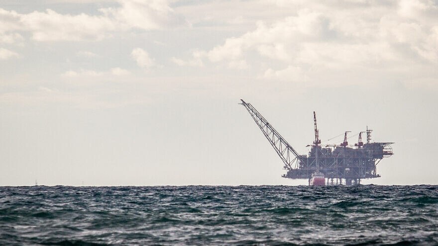 View of the Israeli Leviathan gas-processing rig as seen from Dor Habonim Beach Nature Reserve on Jan. 1, 2020. Photo by Flash90.