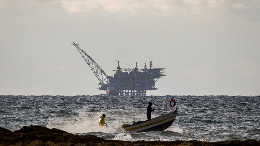 The Israeli Leviathan gas-processing rig as seen from Dor Habonim Beach Nature Reserve, Israel, on Jan. 1, 2020. Photo by Flash90.