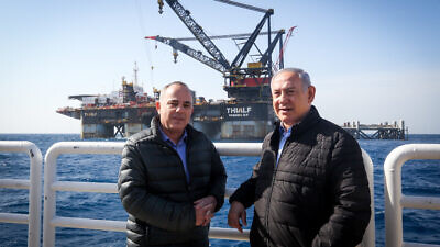 Israeli Prime Minister Benjamin Netanyahu and Israeli Minister of Energy Yuval Steinitz visit the Leviathan gas-processing rig near the Israeli city of Caesarea on Jan. 31, 2019. Photo by Marc Israel Sellem/POOL.