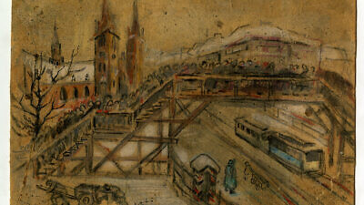 """""""Lodz Ghetto Bridge, circa 1940–1943"""" by Vincent Brauner. Credit: Gift of Elizabeth, Gail, and Sandy Peters in the Museum of Jewish Heritage–A Living Memorial collection."""