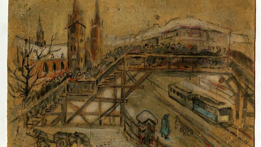 """Lodz Ghetto Bridge, circa 1940–1943"" by Vincent Brauner. Credit: Gift of Elizabeth, Gail, and Sandy Peters in the Museum of Jewish Heritage–A Living Memorial collection."