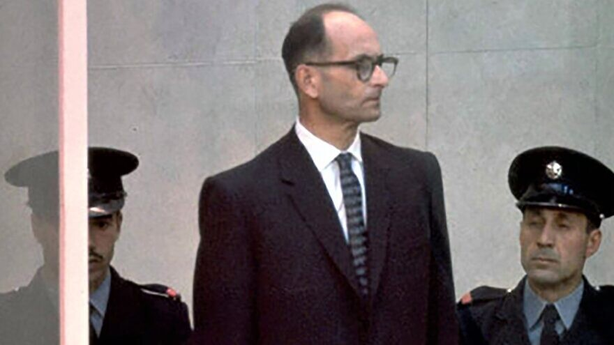 """Nazi war criminal Adolf Eichmann at his trial in Jerusalem, part of the exhibit """"Operation Finale: The Capture & Trial of Adolf Eichmann,"""" January to June 2020. Credit: Israel Government Press Office."""