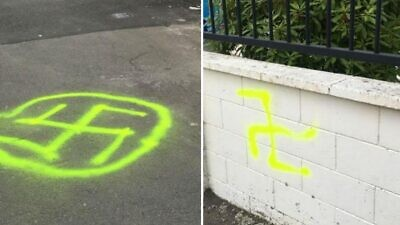 Graffiti on the Wellington Jewish Progressive Congregation in New Zealand. Credit: Wellington City Council.