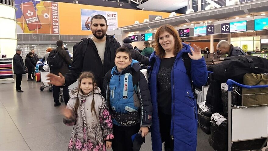 The Shopotinsky family—Alexander, Victoria, Sergey and Elizabetha—leave Ukraine to make their new home in Israel, partly due to rising anti-Semitism in Eastern Europe, Jan. 27, 2020 .Credit: The Fellowship.