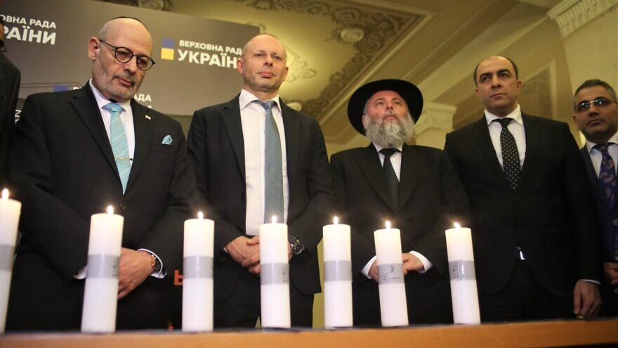 "An event at the Ukrainian parliament, referred to locally as ""Verkhovna Rada,"" marked both International Holocaust Remembrance Day and the 75th anniversary of the liberation of Auschwitz. It concluded with the lighting of candles in memory of those who perished in the Holocaust, as well as by the recitation of the Kaddish prayer, Jan. 16, 2020. Photo by Ian Dobronosov."