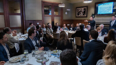 Adam Milstein, a member of the philanthropists' group that helped to establish the Impact Forum, speaks to a gathering of philanthropists in Los Angeles. Source: Merona Leadership Foundation.