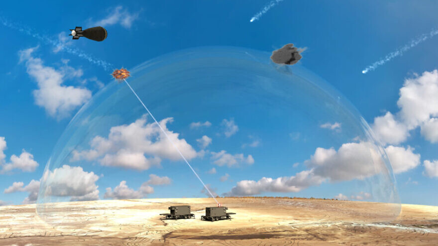 A computer-generated image showing a laser-based missile-defense system being developed by Israel, Jan. 8, 2020. Credit: Israeli Defense Ministry.