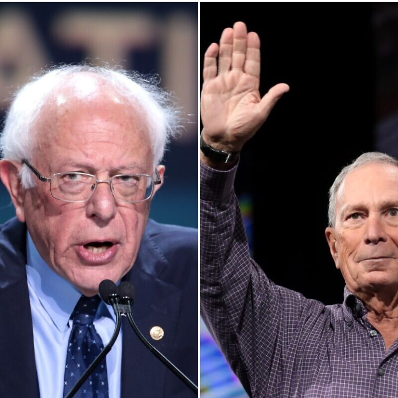 Democratic presidential candidates U.S. Sen. Bernie Sanders (I-Vt.) and former New York Mayor Michael Bloomberg. Photos by Gage Skidmore via Flickr.