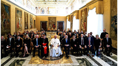 Pope Francis with the Simon Wiesenthal Center delegation in the Vatican on Jan. 20, 2020, on the 78th anniversary of the infamous Wannsee Conference in 1942 that sealed the fate of European Jewry, and on the eve of the 75th anniversary of the liberation of the death camp at Auschwitz-Birkenau. Credit: Simon Wiesenthal Center.