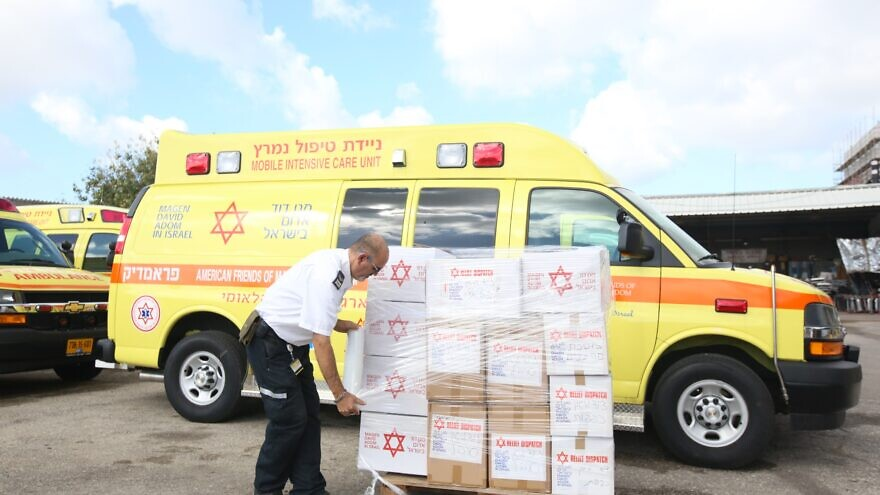 Magen David Adom responds to the request by Chabad for protective gear for communities in China amid the coronavirus outbreak, February 2020. Credit: Courtesy.