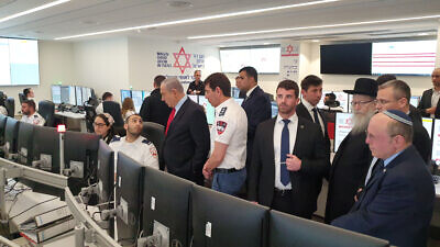 Israeli Prime Minister Benjamin Netanyahu, along with other senior Israeli officials, toured Magen David Adom's national operations center on Feb. 27, 2020. Credit: Magen David Adom.