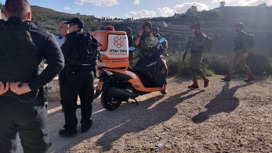 First responders at the scene of a terrorist attack in the Benjamin region near Jerusalem, on Feb. 6, 2020. Credit: United Hatzalah.
