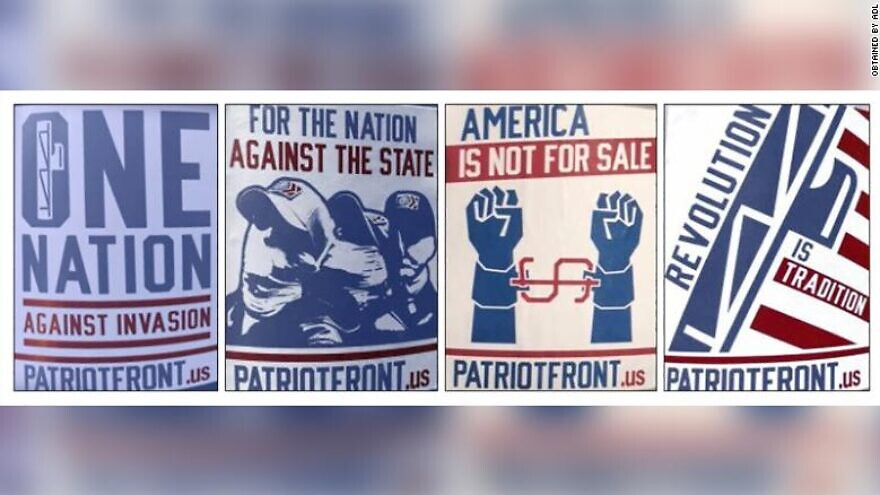 The Patriot Front group uses a red, white and blue color scheme to advertise its white-supremacist ideology, according to the Anti-Defamation League. Credit: ADL.