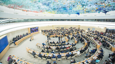 """A view of the U.N. Human Rights Council special session on """"the deteriorating human-rights situation in the occupied Palestinian territory, including East Jerusalem,"""" May 2018. Photo by Elma Okic/U.N."""
