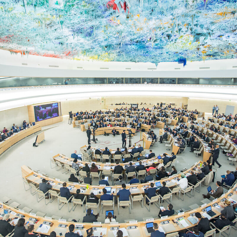 "View of the U.N. Human Rights Council special session on ""the deteriorating human-rights situation in the occupied Palestinian territory, including East Jerusalem,"" May 2018. Photo by Elma Okic/U.N."