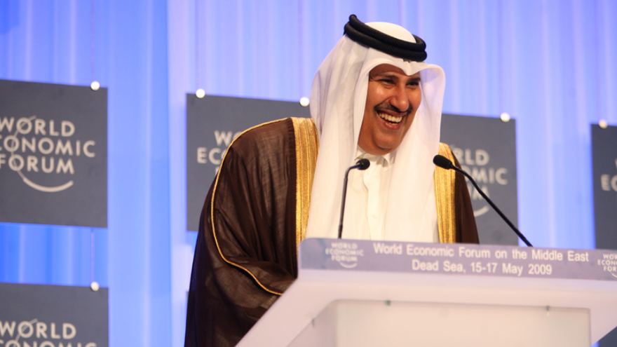 Qatar's Prime Minister Sheikh Hamad bin Jassim bin Jaber Al Thani delivers a speech at the World Economic Forum on the Middle East at the Dead Sea in Jordan, May 15, 2009. Photo by Nader Daoud/World Economic Forum via Wikimedia Commons.