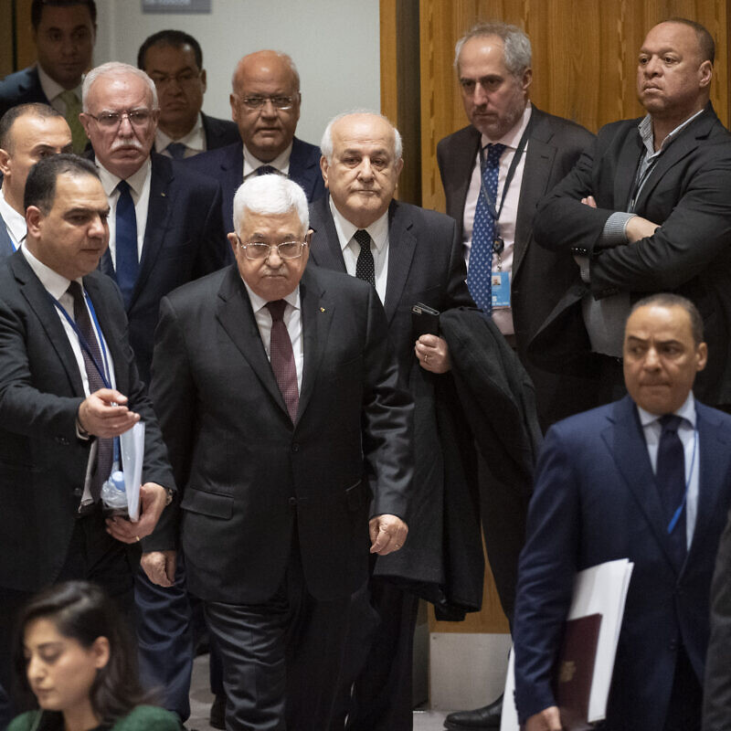 Palestinian Authority leader Mahmoud Abbas enters the U.N. Security Council meeting on the situation in the Middle East, including the Palestinian question. Credit: U.N. Photo/Evan Schneider.
