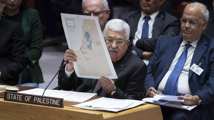 Palestinian Authority leader Mahmoud Abbas addresses the U.N. Security Council concerning details of the Mideast peace plan put forth by the United States on Feb. 11, 2020. Credit: Eskinder Debebe/U.N. Photo.