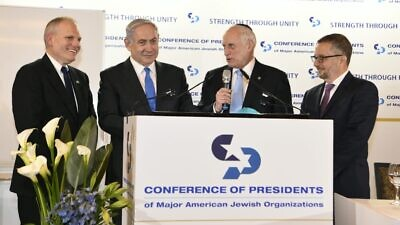 From left: Conference of Presidents CEO William Daroff, Israeli Prime Minister Benjamin Netanyahu, executive vice chairman Malcolm Hoenlein and chairman Arthur Stark speaking at the 2020 Conference of Presidents Summit in Jerusalem. Source: Conference of Presidents via Twitter.
