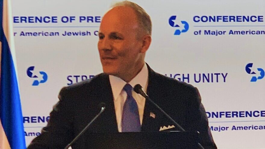 U.S. Special Envoy to Monitor and Combat Anti-Semitism Elan Carr speaks at the Conference of Presidents of Major American Jewish Organizations summit in Jerusalem on Feb. 20, 2020. Source: Conference of Presidents of Major Jewish Organizations/Twitter.