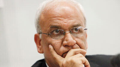Chief Palestinian negotiator Saeb Erekat at a press conference at the Notre Dam hotel in Jerusalem, on June 25, 2013. Photo by Miriam Alster/Flash90.