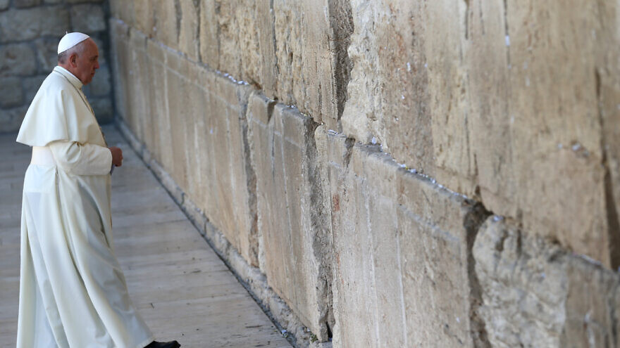 Pope Francis arrives to pray in front of the Western Wall, Judaism's holiest site, in Jerusalem's Old City, on May 26, 2014. Photo by Nati Shohat/FLASH90