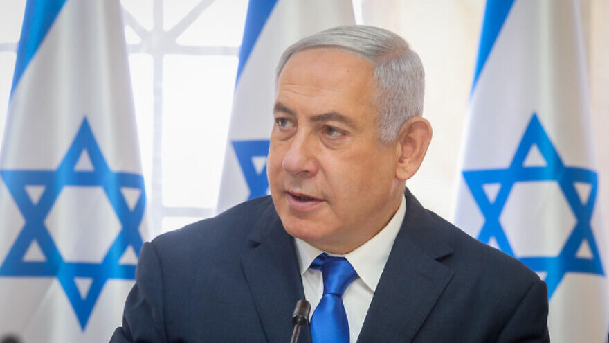 Israeli Prime Minister Benjamin Netanyahu leads the weekly cabinet meeting, in the Jordan Valley, on Sept. 15, 2019. Photo by Marc Israel Sellem/POOL.
