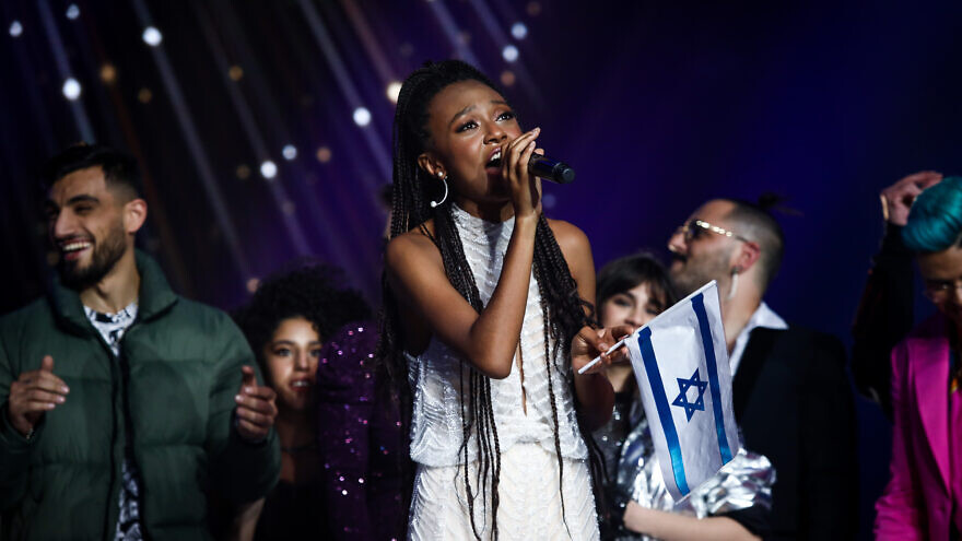 "Eden Alene, winner of the reality show ""The Next Star to Eurovision,"" during finals in Neve Ilan studio near Jerusalem on Feb. 4, 2020. Photo by Shlomi Cohen/Flash90."
