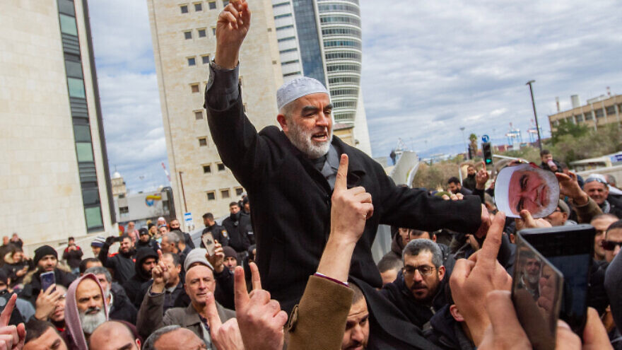 Sheikh Raed Salah, leader of the northern branch of the Islamic Movement in Israel, seen with supporters after a court hearing in Haifa on Feb. 10, 2020. Photo by Flash90.