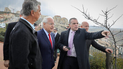 U.S. Ambassador to Israel David Friedman with Efrat regional council head Oded Revivi and the heads of local councils in Judea and Samaria during a visit to Efrat in Gush Etzion, Feb. 20, 2020. Photo by Gershon Elinson/Flash90.