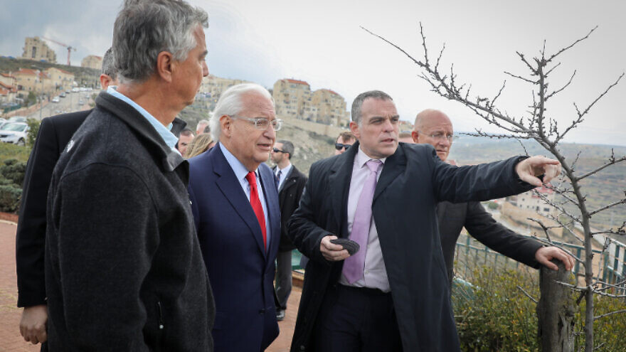 U.S. Ambassador to Israel David Friedman with Efrat regional council head Oded Revivi, and the heads of local councils in Judea and Samaria, during a visit to Efrat on Feb. 20, 2020. Photo by Gershon Elinson/Flash90.