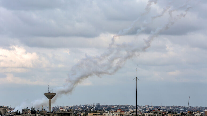 Rockets were launched towards southern Israel, as seen from Rafah in the Gaza Strip on Feb. 24, 2020. Photo by Fadi Fahd/Flash90.