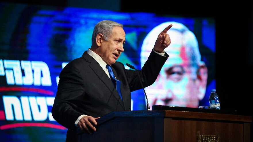 Israeli Prime Minister Benjamin Netanyahu at a Likud Party election rally in Migdal HaEmek in northern Israel on Feb. 25, 2020. Photo by David Cohen/Flash90.