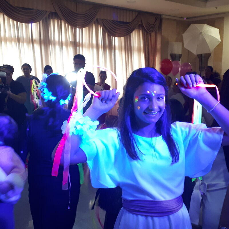 Emunah Rudich celebrates her bat mitzvah in Jerusalem with 42 other orphans at the annual celebration hosted by Colel Chabad on Feb. 17, 2020. Credit: Courtesy.