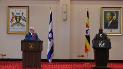 Israeli Prime Minister Benjamin Netanyahu meets with Uganda's President Yoweri Museveni in Kampala, Uganda, on Feb. 3, 2020. Photo by Haim Zach/GPO.