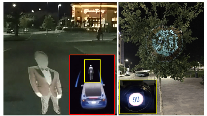 In the Ben-Gurion University of the Negev Research Telsa considers the phantom image (left) as a real person and (right) Mobileye 630 PRO autonomous vehicle system considers the image projected on a tree as a real road sign. Credit: Cyber@bgu.