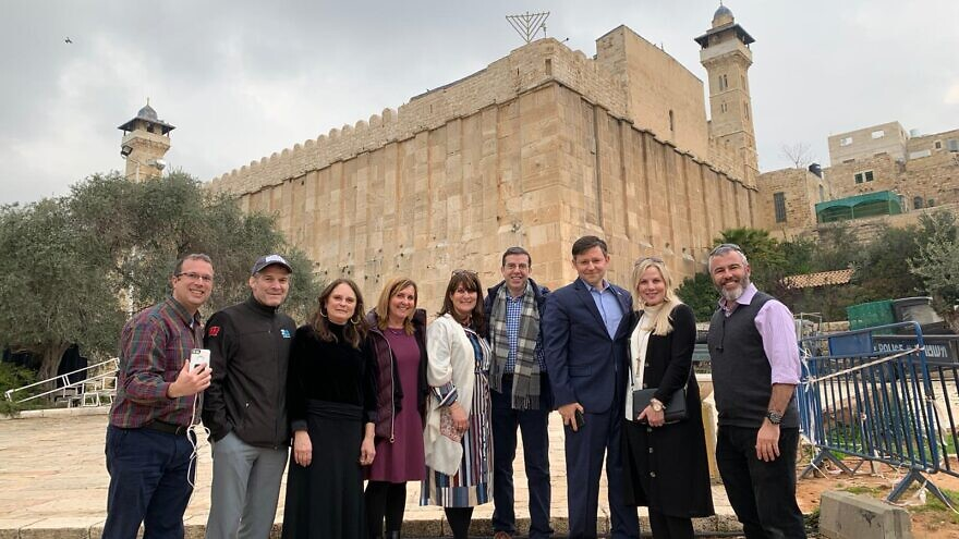At the Cave of the Patriarchs and Matriarchs in Hebron are (from left) Avi Abelow, Rep. Jim Jordan (R-Ohio), Polly Jordan, Ruth Lieberman, Sarah Paley, Dr. Jonathan Paley, Rep. Mike Johnson (R-La.), Kelly Johnson and Yishai Fleisher, Feb. 18, 2020. Courtesy: Yes! Israel Project.