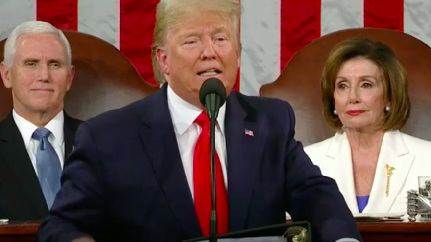 U.S. President Donald Trump, flanked by Vice President Mike Pence and Speaker of the House Nancy Pelosi, delivers the annual State of the Union address in the U.S. House of Representatives on Feb. 4, 2020. Source: Screenshot.