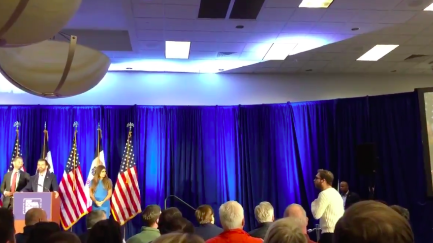 IfNotNow organizer Elon Glickmaninterrupts a press conference conducted by Donald Trump Jr., the son of U.S. President Donald Trump, in West Des Moines, Iowa, ahead of the state's caucus, on Feb. 3, 2020. Source: Screenshot.
