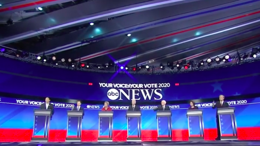The eighth Democratic presidential primary debate at Saint Anselm College in Manchester, N.H., on Feb. 8, 2020. Source: Screenshot.