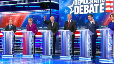 The ninth Democratic presidential primary debate at the Paris Theater in Las Vegas on Feb. 19, 2020. Source: Screenshot.